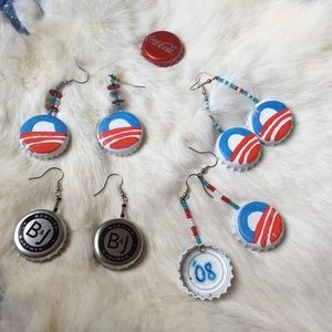 Handmade Obama Painted Bottle Cap Earrings